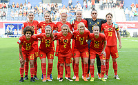 20180904 - LEUVEN , BELGIUM : Belgian team pictured posing for the teampicture with Laura De Neve , Tessa Wullaert , Julie Biesmans , Tine De Caigny , Nicky Evrard , Aline Zeler , Kassandra Missipo , Davinia Vanmechelen , Davina Philtjens , Janice Cayman and Laura Deloose during the female soccer game between the Belgian Red Flames and Italy , the 8th and last game in the qualificaton for the World Championship qualification round in group 6 for France 2019, Tuesday 4 th September 2018 at OHL Stadion Den Dreef in Leuven , Belgium. PHOTO SPORTPIX.BE | DAVID CATRY