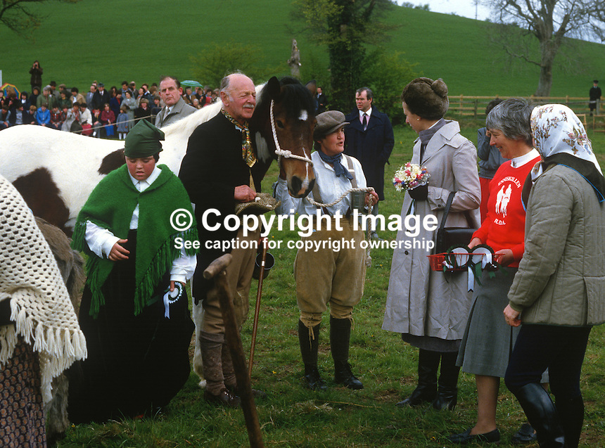 Princess Anne on a May 1985 Royal Visit to N Ireland visits a Riding for the Disabled event near Enniskillen, Co Fermanagh. Included in the photo are Captain Teddy Butler, Enniskillen & Mrs Joan Bell, Kesh, voluntary helpers. 19850503d..Copyright Image from Victor Patterson, 54 Dorchester Park, Belfast, UK, BT9 6RJ..Tel: +44 28 9066 1296.Mob: +44 7802 353836.Voicemail +44 20 8816 7153.Skype: victorpattersonbelfast.Email: victorpatterson@me.com.Email: victorpatterson@ireland.com (back-up)..IMPORTANT: If you wish to use this image or any other of my images please go to www.victorpatterson.com and click on the Terms & Conditions. Then contact me by email or phone with the reference number(s) of the image(s) concerned.