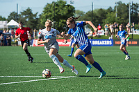 Boston, MA - Saturday June 24, 2017: Abby Dahlkemper and Emilie Haavi during a regular season National Women's Soccer League (NWSL) match between the Boston Breakers and the North Carolina Courage at Jordan Field.