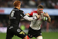 Philip van der Walt (captain) of the Cell C Sharks looks to tackle Jaco Kriel (captain) of the Emirates Lions during the Vodacom Super Rugby match between the Cell C Sharks and the Emirates Lions the at Growthpoint Kings Park in Durban, South Africa. 15th July 2017(Photo by Steve Haag)