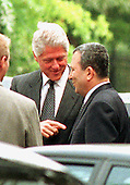 Washington, DC - July 19, 1999 -- United States President Bill Clinton and Prime Minister Ehud Barak of Israel share some last-minute thoughts following their press conference on Monday, 19 July, 1999..Credit: Ron Sachs / CNP