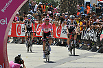 Race leader Maglia Rosa Tom Dumoulin (NED) Team Sunweb arrives at sign on before the start of Stage 2 of the 101st edition of the Giro d'Italia 2018 running 167km from Haifa to Tel Aviv, Israel. 5th May 2018.<br /> Picture: LaPresse/Gian Mattia D'Alberto | Cyclefile<br /> <br /> <br /> All photos usage must carry mandatory copyright credit (&copy; Cyclefile | LaPresse/Gian Mattia D'Alberto)