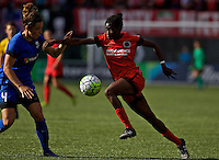 Portland, OR - Sunday, May 29, 2016: Portland Thorns FC forward Shade Pratt (29) is marked by Seattle Reign FC defender Rachel Corsie (4). The Portland Thorns FC and the Seattle Reign FC played to a 0-0 tie during a regular season National Women's Soccer League (NWSL) match at Providence Park.