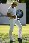 7 September 2008:  Camilo Villegas, who won the tourney, gestures by pumping his fist after teeing off well on the 18th hole  in the fourth and final round of play at the BMW Golf Championship at Bellerive Country Club in Town & Country, Missouri, a suburb of St. Louis, Missouri on Sunday September 7, 2008. The BMW Championship is the third event of the PGA's  Fed Ex Cup Tour.