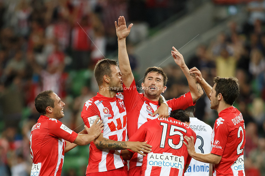 Harry KEWELL of the Heart celebrates his goal in the round 21 match between Melbourne Heart and Melbourne Victory in the Australian Hyundai A-League 2013-24 season at AAMI Park, Melbourne, Australia. Photo Sydney Low/Zumapress<br /> <br /> This image is not for sale on this web site. Please visit zumapress.com for licensing