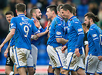 St Johnstone v Hibs...22.03.14    SPFL<br /> Michael O'Halloran celebrates the own goal with James Dunne<br /> Picture by Graeme Hart.<br /> Copyright Perthshire Picture Agency<br /> Tel: 01738 623350  Mobile: 07990 594431