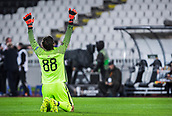 28th September 2017, Partizan Stadium, Belgrade, Serbia; UEFA Europa League group stage, Partizan versus Dynamo Kiev; Goalkeeper Vladimir Stojkovic of Partizan celebrates the first goal from his team