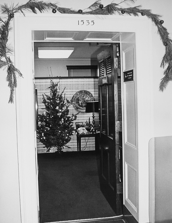 Decorated office of Rep. Ed Bethune, R-Ark., during Christmas contest in 1983. (Photo by CQ Roll Call via Getty Images)