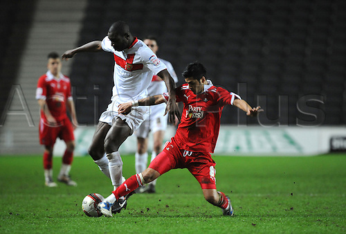 20.03.2012 Milton Keynes, England. Milton Keynes Dons versus Leyton Orient. Jabo Ibehre (MK Dons) Striker  and scorer of the third goal in action during the NPower League 1 game played at Stadium MK.