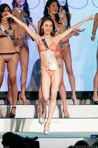 Miss Shimane, Sayaka Fujimoto, competes in the swimsuit category during Miss Universe Japan competition at Hotel Chinzanso Tokyo on July 4, 2017, Tokyo, Japan. Momoko Abe from Chiba who won the title will represent Japan in the next Miss Universe competition. (Photo by Rodrigo Reyes Marin/AFLO)