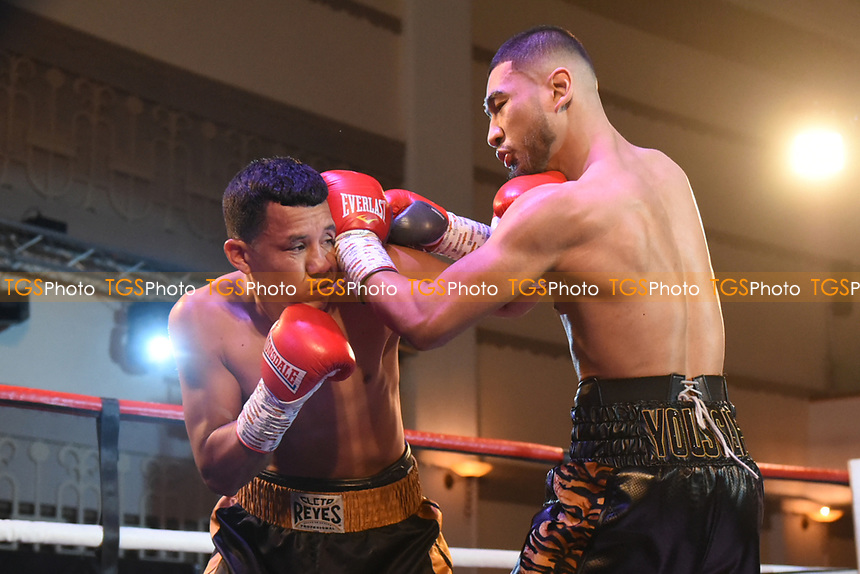 Youssef Khoumari (R) defeats Michael Isaac Carrero during a Boxing Show at the Dunstable Conference Centre on 7th March 2020