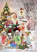 Interlitho, Patricia, CHRISTMAS NOSTALGIC, paintings, santa, tree, 4 kids, KL5881,#x nostalg Weihnachten, nostalgisch, Navidad, nostálgico, illustrations, pinturas