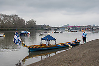 Greater London. United Kingdom, Beached at Putney, Waiting to join the pre boat race flotilla from Putney to Mortlake, University Boat Races , Cambridge University vs Oxford University. Putney to Mortlake,  Championship Course, River Thames, London. <br /> <br /> Saturday  24/03/2018<br /> <br /> [Mandatory Credit  Intersport Images]