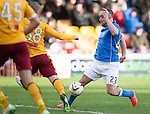 Motherwell v St Johnstone...31.01.15    SPFL<br /> Lee Croft is tackled by Luke Watt<br /> Picture by Graeme Hart.<br /> Copyright Perthshire Picture Agency<br /> Tel: 01738 623350  Mobile: 07990 594431