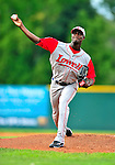 24 July 2010: Lowell Spinners pitcher Roman Mendez (now in the Texas Rangers organization) on the mound against the Vermont Lake Monsters at Centennial Field in Burlington, Vermont. The Spinners defeated the Lake Monsters 11-5 in NY Penn League action. Mandatory Credit: Ed Wolfstein Photo