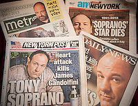 A collection of New York City newspaper covers on Thursday, June 20, 2013 report on the death of Sopranos star James Gandolfini of a heart attack while in Italy. (© Richard B. Levine)