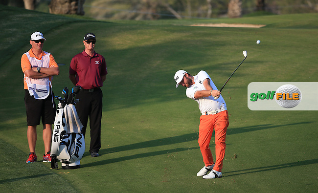 Andy Sullivan (ENG) plays down the 14th during the Pro-Am at the 2016 Omega Dubai Desert Classic, played on the Emirates Golf Club, Dubai, United Arab Emirates.  03/02/2016. Picture: Golffile | David Lloyd<br /> <br /> All photos usage must carry mandatory copyright credit (&copy; Golffile | David Lloyd)