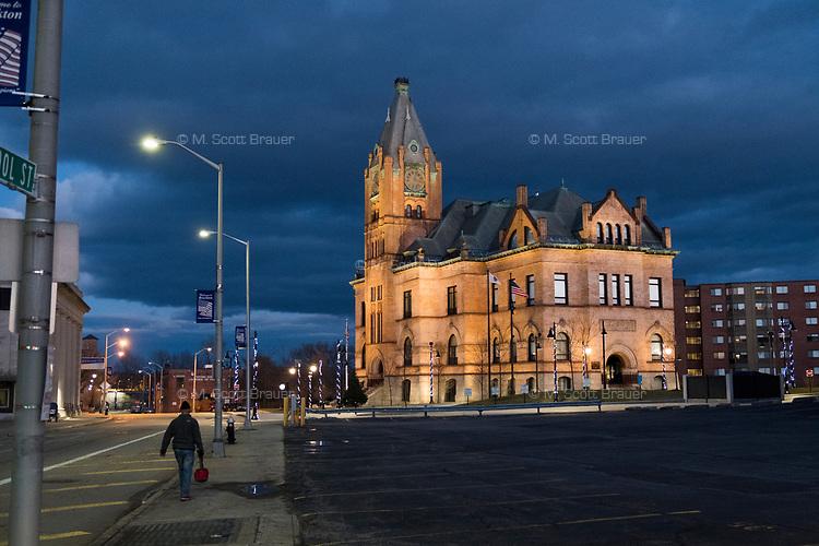 Brockton City Hall is illuminated in downtown Brockton, Massachusetts, USA, on Wed., March 29, 2017.