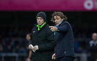 Wycombe Wanderers Manager Gareth Ainsworth points something out to Fourth Official Alan Young during the Sky Bet League 2 match between Wycombe Wanderers and Portsmouth at Adams Park, High Wycombe, England on 28 November 2015. Photo by Andy Rowland.