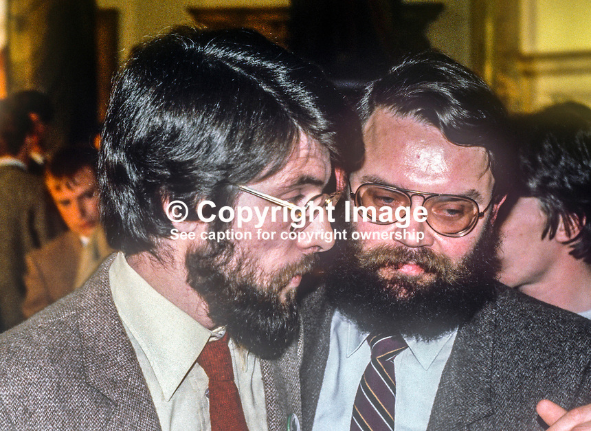 Sinn Fein president Gerry Adams, left, who was one of five party candidates, who won seats for the first time in the N Ireland Assembly in the October 1982 election. He is pictured with prominent party member Tom Hartley. 198210200154GA+TH/A<br />