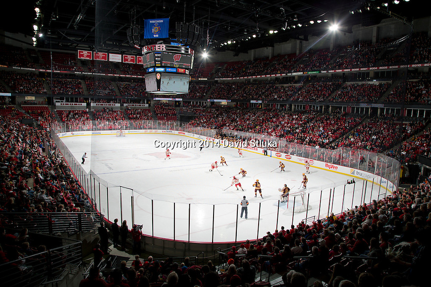 A general view of the Kohl Center during the Wisconsin Badgers NCAA college women's hockey game against the Minnesota Golden Gophers Saturday, February 15, 2014 in Madison, Wis. The Golden Gophers won 4-0. (Photo by David Stluka)