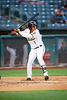 Wilfredo Tovar (1) of the Salt Lake Bees bats against the Albuquerque Isotopes at Smith's Ballpark on April 24, 2019 in Salt Lake City, Utah. The Isotopes defeated the Bees 5-4. (Stephen Smith/Four Seam Images)