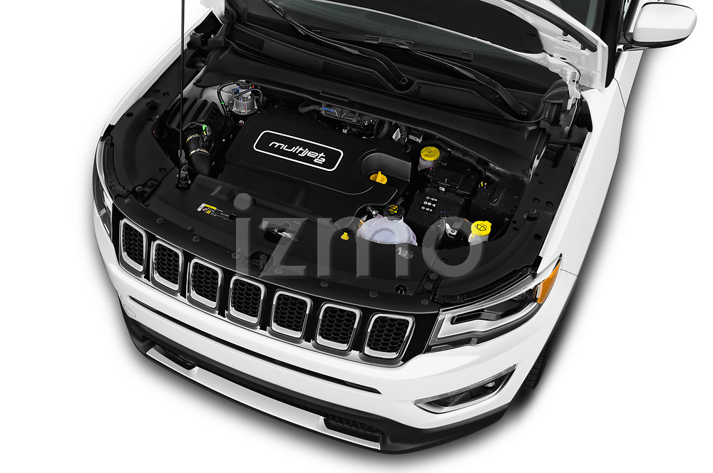 Car stock 2018 Jeep Compass Limited 4WD 5 Door SUV engine high angle detail view