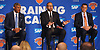 New York Knicks head Coach David Fizdale, center, speaks with the media during the team's 2018-19 Season Tipoff press conference in the lobby of the Hulu Theater at Madison Square Garden on Thursday, Sept. 20, 2018. Sitting alongside him are team president Steve Mills, left, and general manager Scott Perry.
