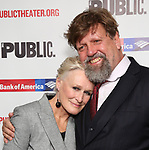 """Glenn Close and Oskar Eustis attend the Opening Night Celebration for """"Mother of the Maid"""" on October 18, 2018 at the Public Theatre in New York City."""