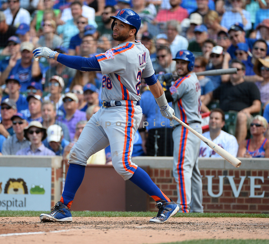 New York Mets James Loney (28) during a game against the Chicago Cubs on July 20, 2016 at Wrigley Field in Chicago, IL. The Cubs beat the Mets 6-2.