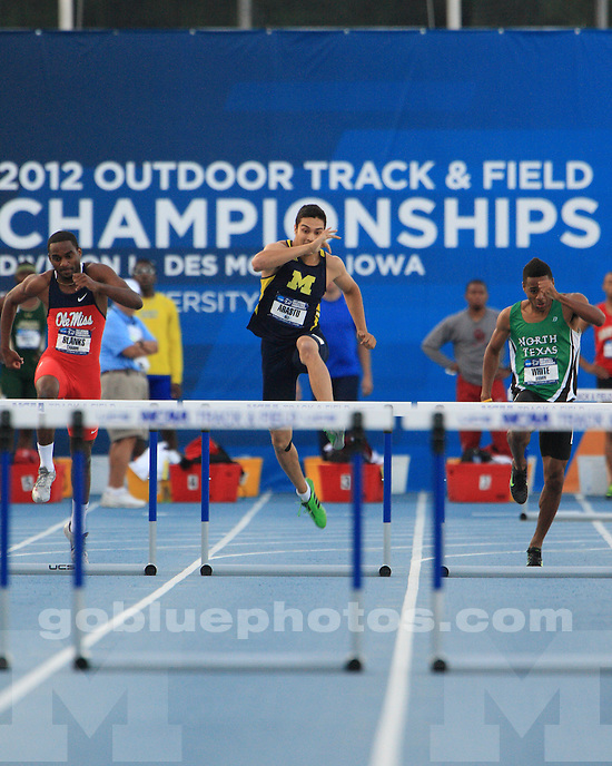 The University of Michigan men's track and field team competed in the NCAA Outdoor Championships at Drake Stadium in Des Moines, Iowa, on June, 6, 2012.
