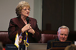 Nevada Sen. Joyce Woodhouse, D-Henderson, speaks on the Senate floor at the Legislative Building in Carson City, Nev., on Wednesday, Feb. 27, 2013. Sen. Don Gustavson, R-Sparks, is at right..Photo by Cathleen Allison