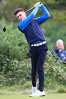 Conor Gough (GB&I) on the 6th tee during the Foursomes at the Walker Cup, Royal Liverpool Golf CLub, Hoylake, Cheshire, England. 07/09/2019.<br /> Picture Thos Caffrey / Golffile.ie<br /> <br /> All photo usage must carry mandatory copyright credit (© Golffile | Thos Caffrey)