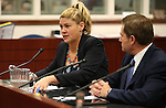 Nevada Sen. Patricia Farley, R-Las Vegas, and lobbyist Alfredo Alonso testify on one of several bills lawmakers are considering that would make the use of electronic cigarettes be subject to the same restrictions as tobacco of at the Legislative Building in Carson City, Nev., on Wednesday, April 1, 2015. <br /> Photo by Cathleen Allison