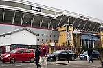 West Ham United 2 Crystal Palace 2, 02/04/2016. Boleyn Ground, Premier League. Fans making their way along Green Street from the Boleyn Ground after West Ham United hosted Crystal Palace in a Barclays Premier League match. The Boleyn Ground at Upton Park was the club's home ground from 1904 until the end of the 2015-16 season when they moved into the Olympic Stadium, built for the 2012 London games, at nearby Stratford. The match ended in a 2-2 draw, watched by a near-capacity crowd of 34,857. Photo by Colin McPherson.