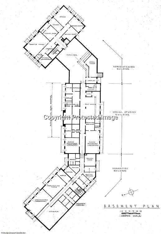 Pittsburgh PA: An Ingham, Boyd and Pratt basement floor drawing of the new Administration, Social Studies and Humanities buildings at the Pennsylvania College for Women's campus.  Ingham, Boyd and Pratt Architect's various designs were submitted from 1948 through 1952 with construction starting in 1953. Pennsylvania College for Women was renamed Chatham College in 1955.