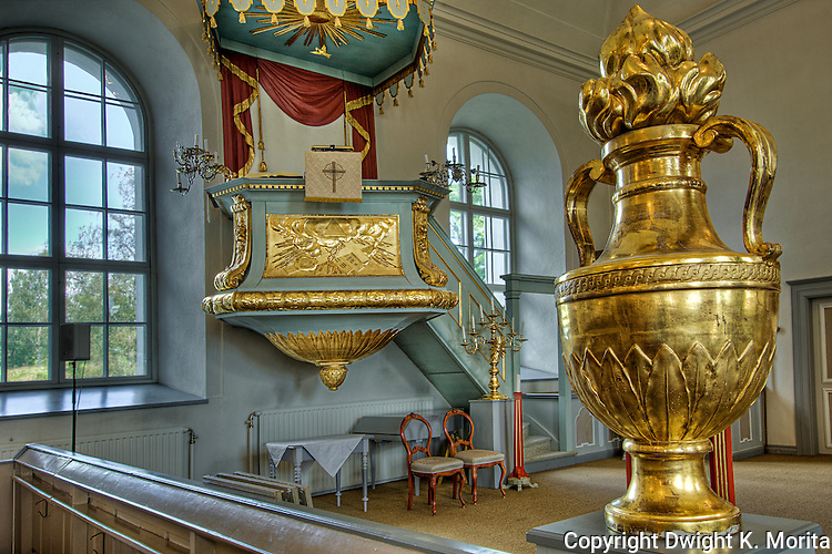 Interior of the church located in central Nordingra on the Baltic coast.  Part of the UENSCO World Heritage Site of the Hight Coast (Höga Kusten), Sweden