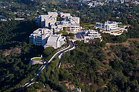 aerial photograph of the Getty Center,  J. Paul Getty Museum, Brentwood, Los Angeles, California