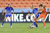 Houston, TX - Wednesday June 28, 2017: Christen Westphal and Morgan Brian battle for control of the ball  during a regular season National Women's Soccer League (NWSL) match between the Houston Dash and the Boston Breakers at BBVA Compass Stadium.