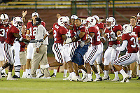 Stanley Wilson makes an interception during Stanford's 63-26 win over San Jose State on September 14, 2002 at Stanford Stadium.<br />