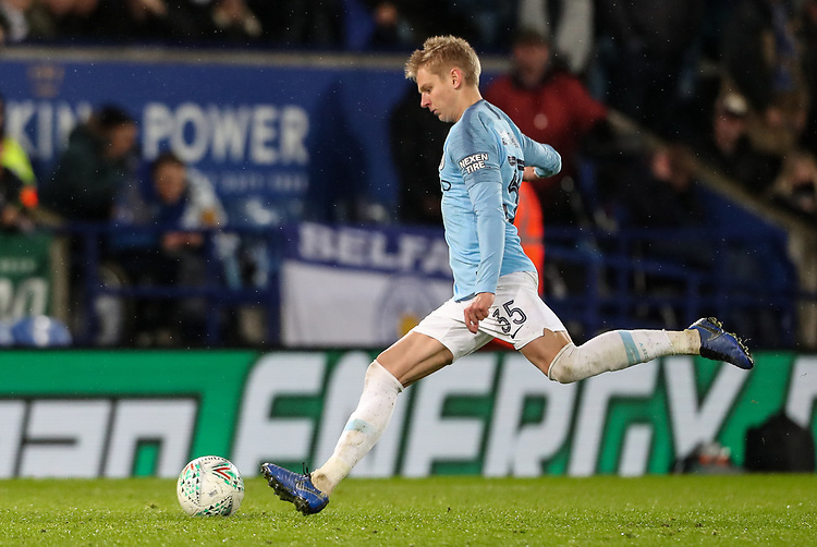 Manchester City 's Oleksandr Zinchenko scoring the winning penalty<br /> <br /> Photographer Andrew Kearns/CameraSport<br /> <br /> English League Cup - Carabao Cup Quarter Final - Leicester City v Manchester City - Tuesday 18th December 2018 - King Power Stadium - Leicester<br />  <br /> World Copyright © 2018 CameraSport. All rights reserved. 43 Linden Ave. Countesthorpe. Leicester. England. LE8 5PG - Tel: +44 (0) 116 277 4147 - admin@camerasport.com - www.camerasport.com