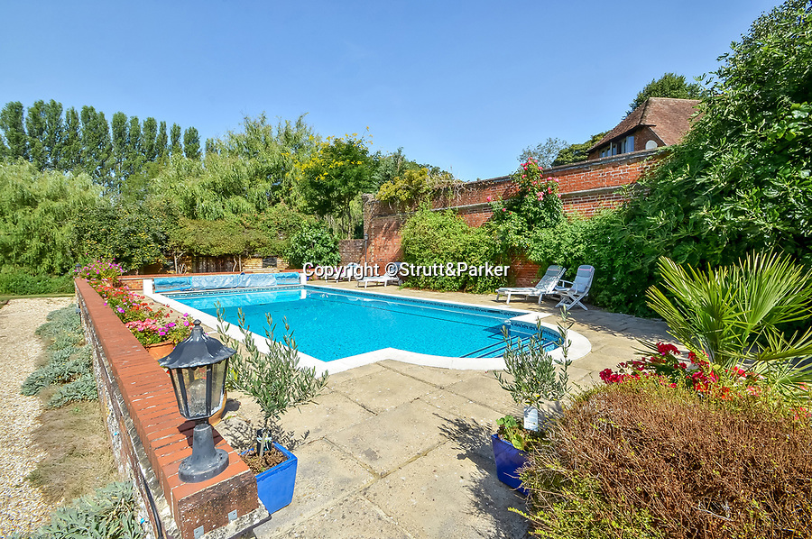 BNPS.co.uk (01202 558833)<br /> Pic: Strutt&Parker/BNPS<br /> <br /> PICTURED: The House with its own pool for those warm summer days<br /> <br /> A breathtaking country home that comes with its own fishing rights in a well-stocked river has emerged for sale for £2.5m.<br /> <br /> Hockley House in the Hampshire village of Twyford sits on the banks of the river Itchen which runs between Winchester and Southampton.<br /> <br /> The stylish nine bed home has direct access to the 28 mile waterway and has a license allowing residents to fish in the grounds.<br /> <br /> The river has a bustling population of brown trout and is also home to a number of other species including water voles and otters.