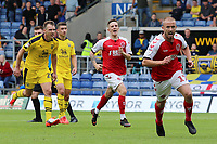 Fleetwood Town's Paddy Madden celebrates scoring his side's second goal <br /> <br /> Photographer David Shipman/CameraSport<br /> <br /> The EFL Sky Bet League One - Oxford United v Fleetwood Town - Saturday August 11th 2018 - Kassam Stadium - Oxford<br /> <br /> World Copyright &copy; 2018 CameraSport. All rights reserved. 43 Linden Ave. Countesthorpe. Leicester. England. LE8 5PG - Tel: +44 (0) 116 277 4147 - admin@camerasport.com - www.camerasport.com