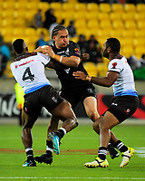 New Zealand's Bradley Takairangi is tackled during the 2017 Rugby League World Cup quarterfinal match between New Zealand Kiwis and Fiji Bati at Wellington Regional Stadium in Wellington, New Zealand on Saturday, 18 November 2017. Photo: Dave Lintott / lintottphoto.co.nz
