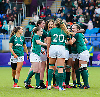 9th February 2020; Energia Park, Dublin, Leinster, Ireland; International Womens Rugby, Six Nations, Ireland versus Wales; The Ireland team celebrates being awarded a penalty try in the last seconds of the game
