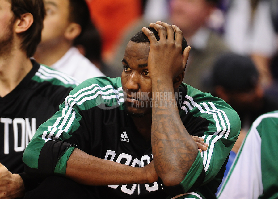 Jan. 28, 2011; Phoenix, AZ, USA; Boston Celtics forward (11) Glenn Davis reacts on the bench in the second quarter against the Phoenix Suns at the US Airways Center. Mandatory Credit: Mark J. Rebilas-