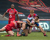 June 4th 2017, AJ Bell Stadium, Salford, Greater Manchester, England;  Rugby Super League Salford Red Devils versus Wakefield Trinity; Kris Welham of Salford gets his tackle in to break up the Wakefield run