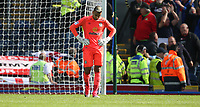 Blackburn Rovers' goalkeeper David Raya reacts as Doncaster Rovers' players celebrate scoring their third goal <br /> <br /> Photographer Stephen White/CameraSport<br /> <br /> The EFL Sky Bet League One - Blackburn Rovers v Doncaster Rovers - Saturday August 12th 2017 - Ewood Park - Blackburn<br /> <br /> World Copyright &copy; 2017 CameraSport. All rights reserved. 43 Linden Ave. Countesthorpe. Leicester. England. LE8 5PG - Tel: +44 (0) 116 277 4147 - admin@camerasport.com - www.camerasport.com