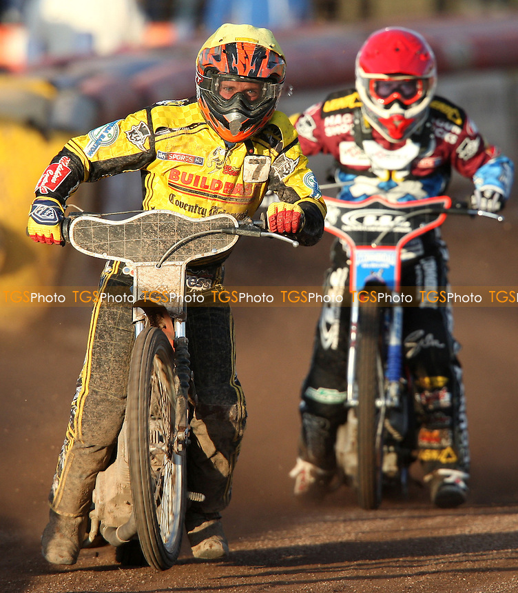 Heat 4: Michal Szczepaniak (yellow) and Davey Watt (red) - Lakeside Hammers vs Coventry Bees, Elite League Speedway at the Arena Essex Raceway, Pufleet - 03/06/13 - MANDATORY CREDIT: Rob Newell/TGSPHOTO - Self billing applies where appropriate - 0845 094 6026 - contact@tgsphoto.co.uk - NO UNPAID USE