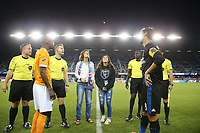 San Jose, CA - Saturday September 16, 2017: Coin toss, DaMarcus Beasley, Chris Wondolowski prior to a Major League Soccer (MLS) match between the San Jose Earthquakes and the Houston Dynamo at Avaya Stadium.